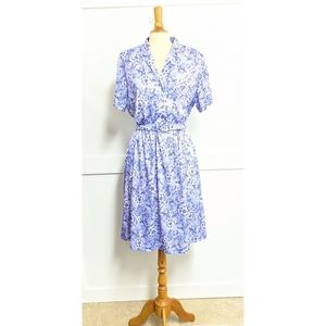 Vintage 1970s purple floral polyester dress 14